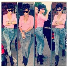Rihanna: Pink cropped 3/4 length sleeve sweater with acid wash jeans and a pair of lace front heels and sunglasses. Not to mention how fly her hair is.