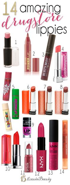 The Best Drugstore Lippies via Minute Beauty. This is fabulous list. I absolutely LOVE Burts Bees Lip gloss, Revlon's Lip Butters, and Maybelline's Color Whispers! Rimmel, Maybelline, Beauty Dupes, Drugstore Makeup, Beauty Hacks, Best Drugstore Lip Gloss, Beauty Ideas, Pretty Makeup, Love Makeup