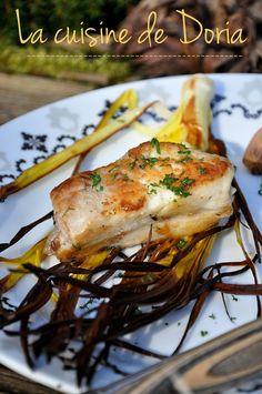 Turbot rôti, poireau grillé et mousseline de chou-fleur et brocoli