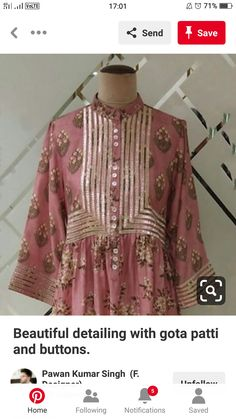 Beautiful detailing with gota patti and buttons. Pakistani Fashion Casual, Pakistani Dresses Casual, Pakistani Dress Design, Stylish Dresses, Simple Dresses, Fashion Dresses, Baby Dress Design, Frock Design, Eastern Dresses