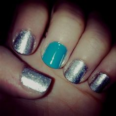 Silver and turquoise nails