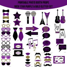 Freebie rock star party printables for your rock stars birthday instant download rock star purple gold silver glitter printable photo booth prop set altavistaventures Images