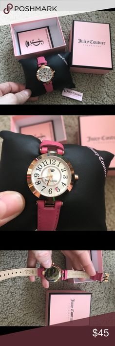 JUICY COUTURE CALI pink leather band watch!!NWT GORGEOUS watch JUICY COUTURE beautiful pink leather band watch pink gold stainless steel with thiny crystals inside NWT and original box Juicy Couture Accessories Watches