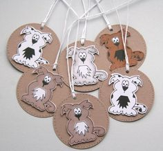 Little Puppy Dogs - Set of Six Round Gift Tags £2.75