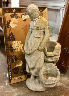 """Mossy Concrete Girl Statue  Originally a fountain.  24"""" Tall   $98  Vintage Affection Dealer #1680  White Elephant Antiques 1026 N. Riverfront Blvd., Dallas, TX 75207"""