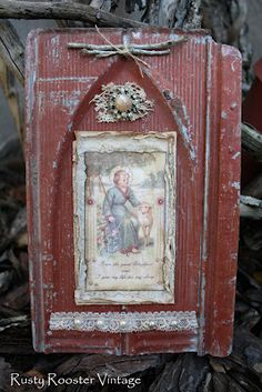 Love this piece of tin collaged with a vintage religious card, made by Vicki, at Rusty Rooster.