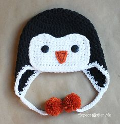 Ravelry: Crochet Penguin Hat (FREE) pattern by Sarah Zimmerman.