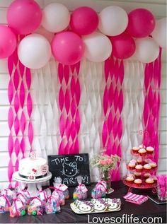 Loves of Life: Emelines Hello Kitty Birthday Party Balloon/Streamer wall. Loves of Life: Eme Streamer Wall, Streamer Decorations, Streamers, 3rd Birthday Parties, Baby Birthday, Birthday Party Decorations, Baby Shower Decorations, Hello Kitty Birthday Party Ideas, Birthday Table