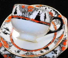 Star Paragon Couple Silhouette Tea Cup and Saucer Teacup Plate | eBay