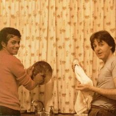 Michael Jackson and Paul McCartney doing the dishes.... (not glamorous, just very cool.)