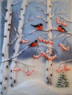 "Wool Painting ""Bullfinches in a Birch Grove"" Painting, Bullfinch, Winter Bird Painting, Birch Trees, Winter Art"
