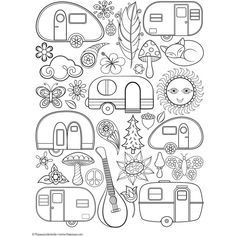 Retro Camper Coloring Pages Coloring Pages Camping Coloring Pages, Colouring Pages, Free Coloring, Adult Coloring Pages, Coloring Sheets, Coloring Books, Mandala Coloring, Retro Campers, Happy Campers
