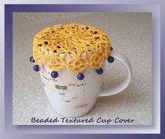 """I added """"Beaded Textured Cup Cover - Free Cup Cover Pattern"""" to an #inlinkz linkup!http://www.crochetmemories.com/blog/beaded-textured-cup-cover/"""