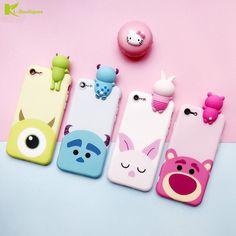 KL-BOUTIQUES 6 S Funda de Silicona para el iphone 7 Casos 3D Lindo Oso Monstruo de Dibujos Animados de cerdo Acostado Muñecas Cubierta para el iphone 6 6 S Plus
