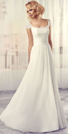$138.89-Simple Lace Chiffon Wedding Dress With Open Back and Cap-Sleeves.  http://www.ucenterdress.com/long-square-cap-sleeve-lace-chiffon-wedding-dress-with-v-back-pMK_705771.html.  Free Custom-made & Free Shipping! Shop lace wedding dress, strapless wedding dress, backless wedding dress, with sleeves, mermaid wedding dress, plus size wedding dress, We have great 2016 best Wedding Dresses on sale at #UcenterDress.com today! #wedding #dress