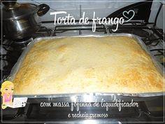 Receita de torta de frango, cremosa, com massa bem fácil feita no liquidificador.