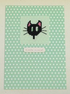 Cat cross stitch card handmade with the wording 'little rascal' by PosieAndMarmalades on Etsy