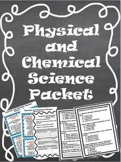 $2.50 This is a 7 page packet on physical and chemical changes.