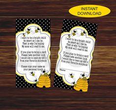 Bee Baby Shower Invitation Yellow Black White