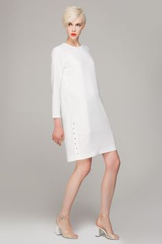Textured shift dress with side button - FrontRowShop