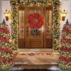 Wrap red lights around red pine robe and swirl around family tree