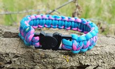 Blue and Pink Break Away Cat Collars with Kitty Clasp 550 Paracord by BrodsParacord on Etsy