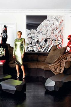Carmen Busquets Paris aparment - Anselm Reyle painting and sculpture, Arik Levy tables, Rick Owens sofa.