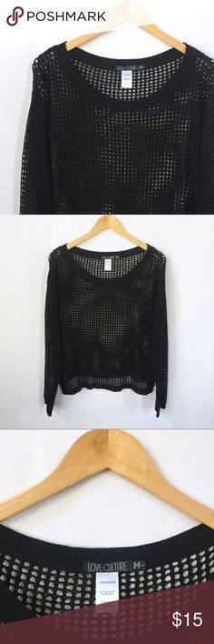Black Fishnet Sweater Black sweater made of netting. Slits on the sides, high - low hem. 80% polyester, 20% spandex. Underarm to underarm - 22.5 inches, front length - 19 inches, back length - 22 inches. *All measurements are approximate and taken laying flat. Love Culture Sweaters