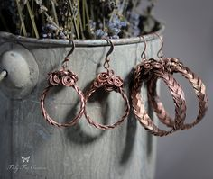 Wire Wrapped Jewelry Handmade/ Copper Earrings/ Hoops/ Braided Jewelry/ Copper Jewelry