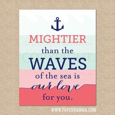 LOVE...Mightier than the waves // A Nautical themed Archival Giclee Art Print for Nursery / Child's Room, 8x10