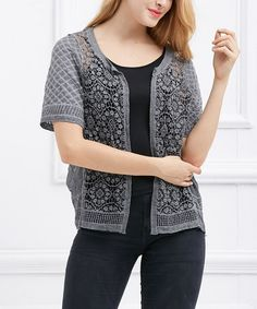 This Gray Crochet Short-Sleeve Cardigan is perfect! #zulilyfinds