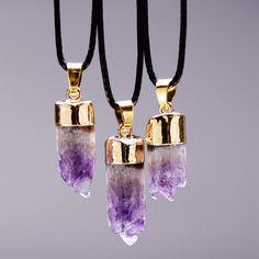 Aliexpress.com: Compre Sedmart 18 K banhado a ouro colar de ametista Natural de cristal de quartzo pedra gargantilha colar de presente de confiança vórtice jóias fornecedores em SEDmart