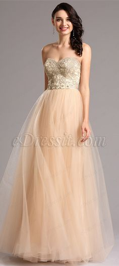 Strapless sweetheart ball gown with mesh skirt! price: $229.99 Global fast delivery! #edressit #formaldress #fashion