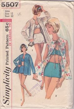 Simplicity 5507 Vintage 60's Sewing Pattern HOT Rockabilly Pin Up Girl Bra Top, Boy Cut Leg Swim Trunks, Bathing Suit, Swimsuit & Sheer or Lace Cover Up Beach Jacket #MOMSPatterns