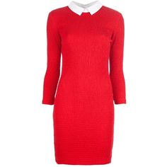 PETIT BATEAU X CARVEN Contrast collar dress (890 BRL) ❤ liked on Polyvore featuring dresses, vestidos, платья, robes, rouched dress, three quarter length sleeve dresses, 3/4 sleeve dress, stitching dresses and red three quarter sleeve dress