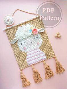 Crochet Wall Art, Crochet Wall Hangings, Crochet Home Decor, Tapestry Crochet, Crochet Crafts, Crochet Projects, Crochet Sheep, Crochet Baby, Single Crochet