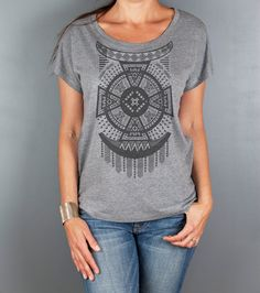 Womens Tribal Top- Geometric Arrow T-shirt- Loose Fitting- Aztec Native Graphic Tee- Custom Hand Screen Printing by Feather 4 Arrow on Etsy, $25.00