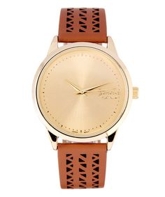 Loving this Cognac & Silvertone Cutout Faux Leather-Strap Watch on #zulily! #zulilyfinds