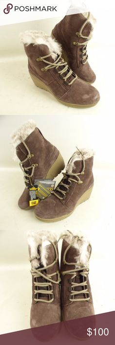 CAT shoes Boots/Wedges Size 10 Brown Brand New Brand:CAT  Gender: Women  Size: 10  Color: Brown / White  Material: Leather, Fur, and Foam Rubber (I believe)  Boot Height (in.):7.5  Heel Height (in.):3  Platform Height (in.):3  Sole, Width (in.):3.75  Exterior Heel to Toe (in.): 10 CAT Shoes Ankle Boots & Booties