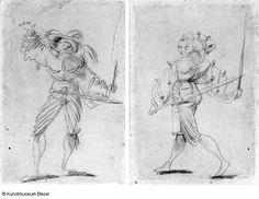 Artist: Graf, Urs, Title: Bannerträger von vorne gesehen, den linken Arm nach oben in die Fahne werfend, Date: ca. 1520-1521