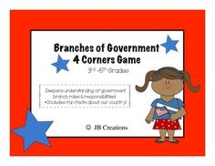 Branches of Government 4 Corners Game grades) Branches Of Government, Readers Theater, Bill Of Rights, American Revolutionary War, Game 3, Matching Games, 5th Grades, Interesting Facts, Revolutionaries