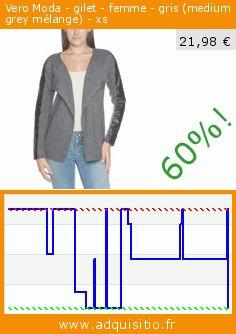 Vero Moda - gilet - femme - gris (medium grey mélange) - xs (Vêtements). Réduction de 60%! Prix actuel 21,98 €, l'ancien prix était de 54,95 €. http://www.adquisitio.fr/vero-moda/gilet-femme-gris-medium-3
