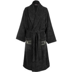 Roberto Cavalli Gold Shawl Bathrobe - Black ($201) ❤ liked on Polyvore featuring intimates, robes, roberto cavalli, long robe, long bathrobe, bath robes and long dressing gowns