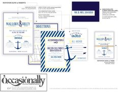 Modern nautical / anchor theme wedding invitation in navy blue & yellow with optional natural jute twine wrap.
