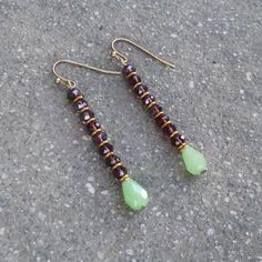 Boho, Indian jewelry inspired dark amethyst and jade crystal earrings by #Lovepray #Jewelry