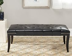 Safavieh Mercer Collection Victor Black Tufted Nailhead Bench