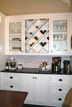 """Built in hutch. add a bar sink with a disposal? For """"wet bar"""" area entering dining room Life Kitchen, Kitchen Redo, New Kitchen, Kitchen Small, Built In Buffet, Built In Hutch, Kitchen Bar Design, Built In Wine Rack, Home Bar Designs"""