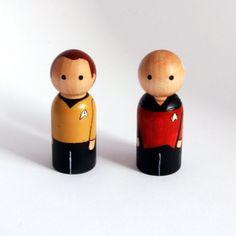 Star Trek - Captains Kirk and Picard peg people by RandomlyGenerated #etsy