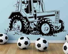 farming vinyl wall art | Tractor Farm Wall Art Sticker Boys Bedroom Decal Mural Stencil Vinyl ...