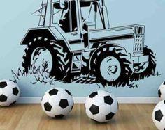farming vinyl wall art   Tractor Farm Wall Art Sticker Boys Bedroom Decal Mural Stencil Vinyl ...
